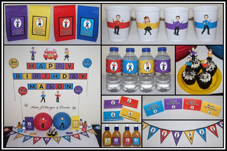The Wiggles Personalised Birthday Party Decorations Supplies Packs Shop Online Australia Banners Bunting Wall Display Cupcake Toppers Chocolate Wrappers Juice Water Pop Top Labels Posters Lanterns Invites Cup Stickers Ideas Inspiration Cake Table Katie J Design and Events 1st 2nd 3rd Emma Wiggle Dorothy the Dinosaur Henry Wags Captain Feathersword
