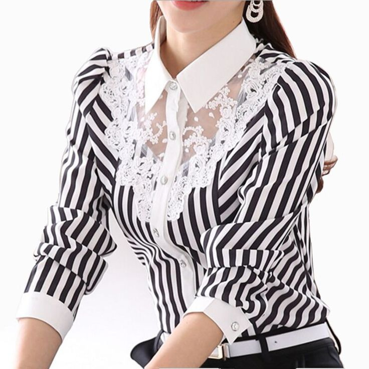 2017 Langarm Spitzen Tops Striped Bluse Frauen Fr…