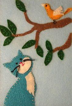 felt sew - Google Search applique cat bird on a branch