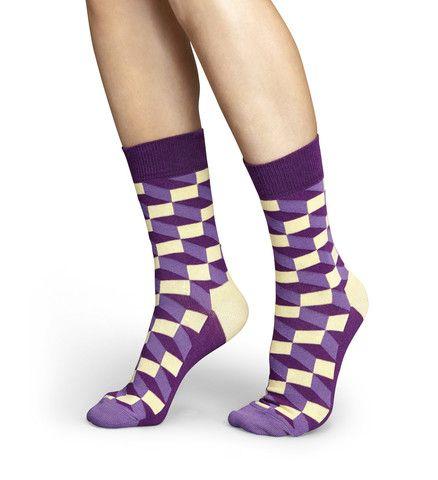 Sock Obsessed   Happy Socks, Purple Geometric for Men and Women (Unisex) – Sock Obsessed