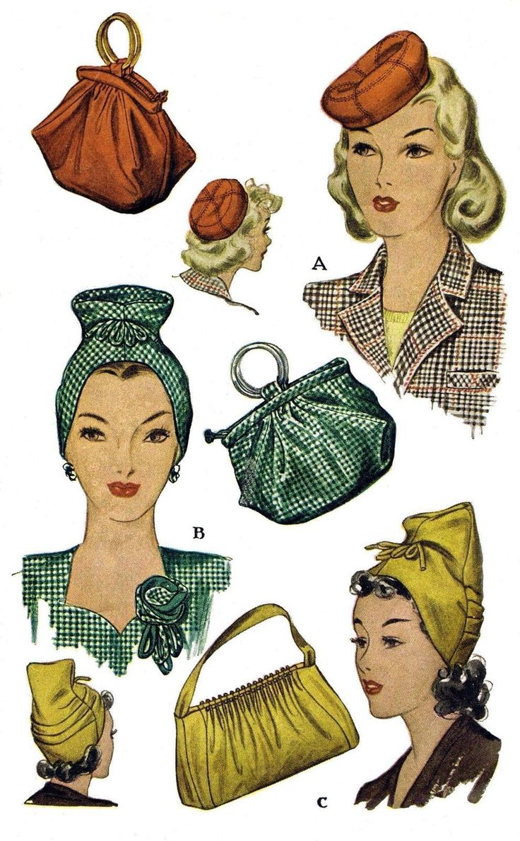VINTAGE MILLINERY REPRODUCTION, 1940'S HAT AND BAG , FABRIC SEWING PATTERN FOR THE UNIQUE HAT FASCINATOR,