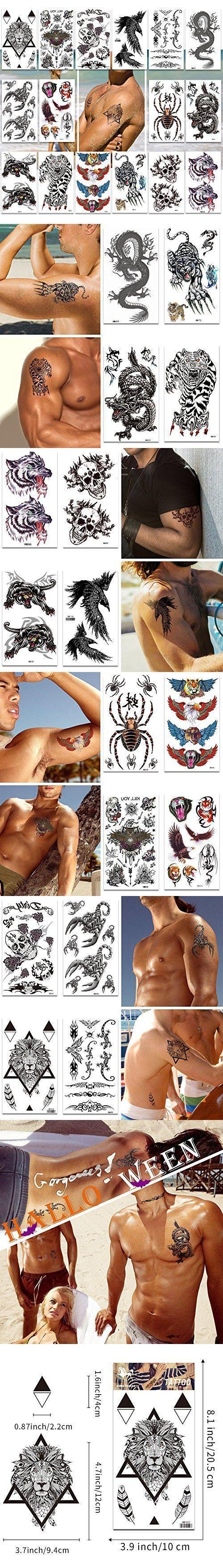 Temporäre Tattoos Packung mit 16 Blättern für Männer Teens Guys Boys Große … – Tattoo