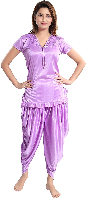 Romaisa Satin Night Suit Top with Patiyala (PT147-424L 509117fd6
