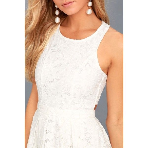 56a8b8de39 Lulus Daisy Date White Lace Skater Dress ( 64) ❤ liked on Polyvore  featuring dresses