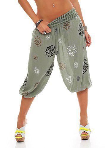 1488f98fc3346b ZARMEXX Damen 3/4 Pumphose Capri Pluderhose im Harem-Stil kurze Sommerhose  Yoga Aladinhose