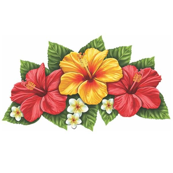 Triple Hibiscus Flower Red Yellow Pool Mosaic Flower Drawing Hawaiian Flower Tattoos Flower Painting