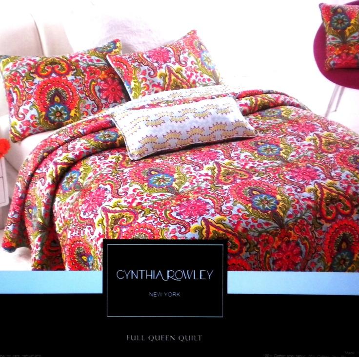 CYNTHIA ROWLEY WILD RAINBOW FLORAL 3pc QUEEN QUILT SET