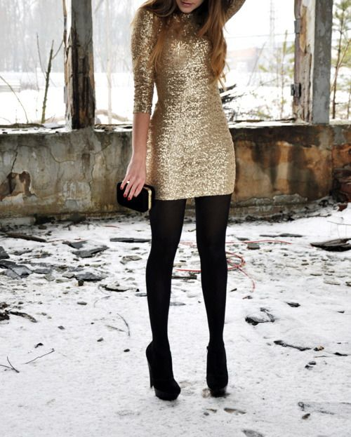 New Years Eve outfit Gold sequin dress Black tights, black pumps