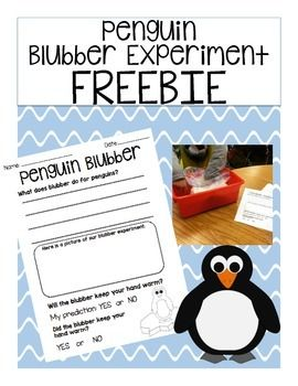"""This *FREEBIE* includes a """"How To"""" sheet and a experiment sheet that students fill out before, during, and after putting their hand in the blubber.  This is a simple and fun science activity to do with the primary grades."""