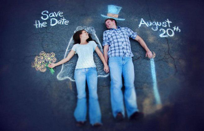 Street Chalk Drawing Save The Date Photo Idea. See more here: 27 Cute Save the Date Photo Ideas | Confetti Daydreams ♥  ♥  ♥ LIKE US ON FB: www.facebook.com/confettidaydreams  ♥  ♥  ♥ #Wedding #SaveTheDate #PhotoIdeas