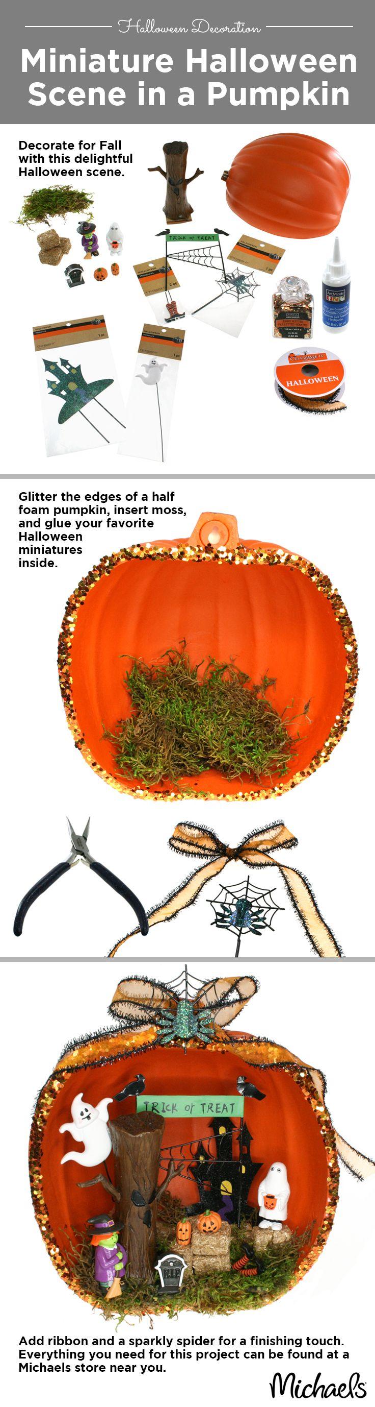 Create A Miniature Halloween Scene In A Pumpkin To Make