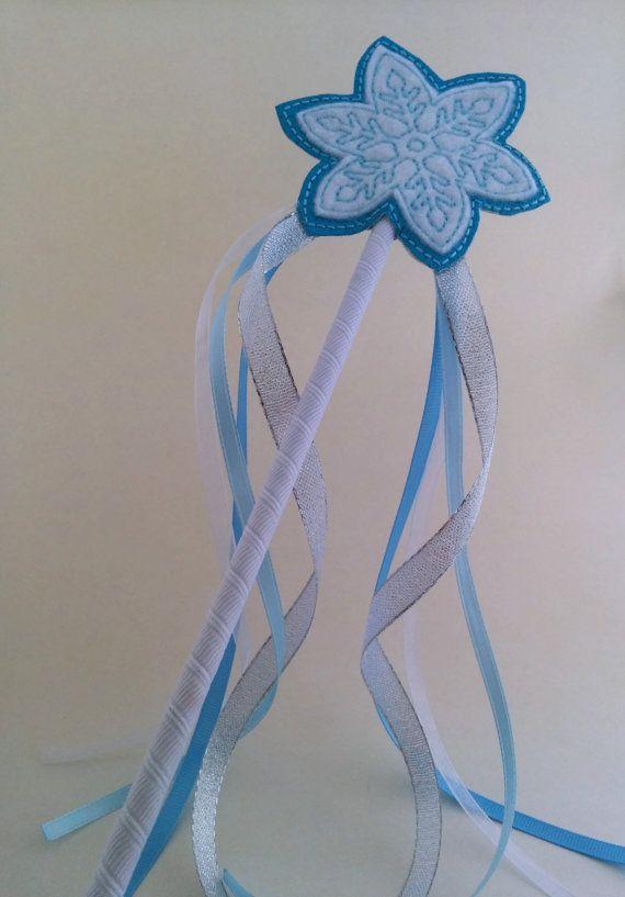 Princess Wand Frozen Snowflake Blue Glitter Embroidered by ShopOrangeBlossoms, $10.00
