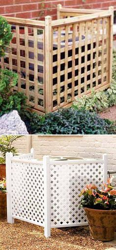 7. Use privacy lattice screens to cover up an AC unit.