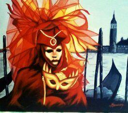 masque vénitien aux voiles feu, peinture acrylique Christine Monsion
