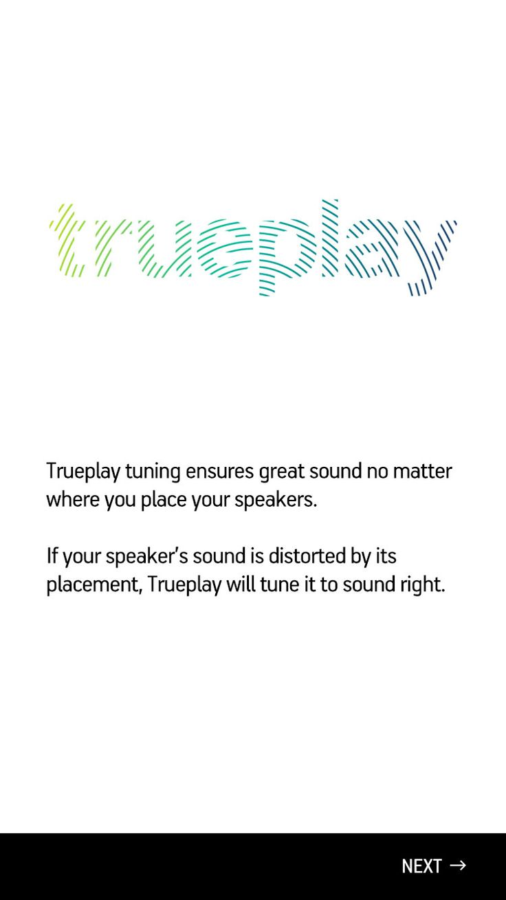 Sonos controller app screen of Trueplay tuning