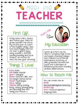 Teacher Letter To Parents First Day Of School Sample