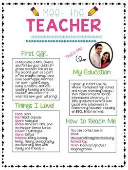 Meet The Teacher Letter! Back To School Meet The