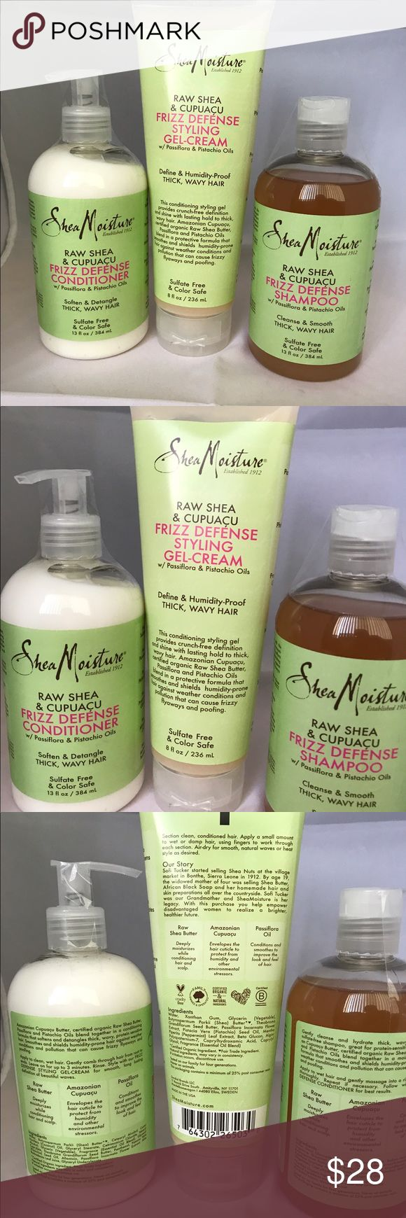 Shea Moisture Trio Shea Moisture Raw Shea &  Capuacu Frizz Defense Styling Gel-Cream (8 fl oz), Conditioner (13 fl oz), and Shampoo (13 gl oz).  trades. Only reasonable offers considered. Shea Moisture Other