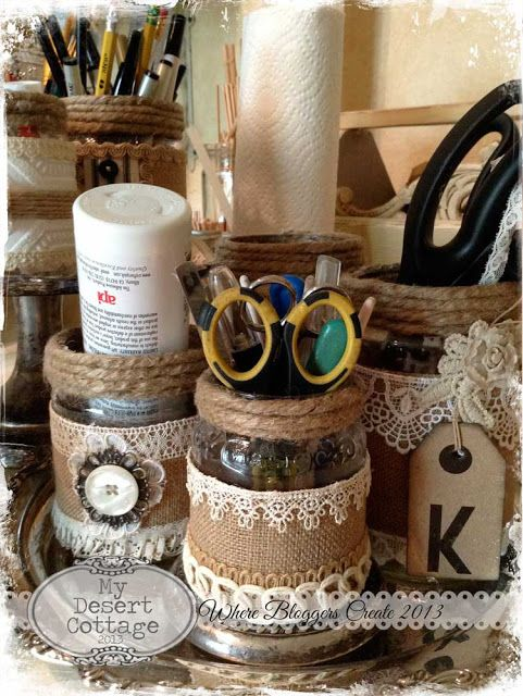"dress up cans, jars and bottles for creative, inexpensive storage   use any ""theme"""