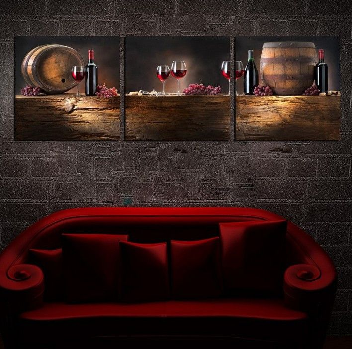 Grape Decor For Kitchen Banquette Table 3 Pieces Free Shipping Hot Sell Modern Wall Painting Red ...
