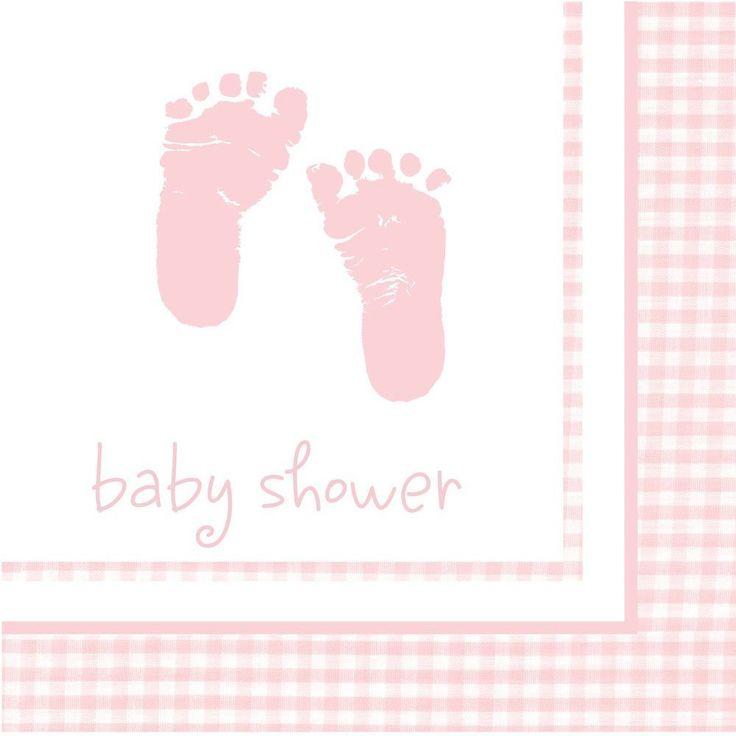 Søde lyserøde barnedåb servietter til dit festbord til din pige barnedåb. Alt til din barnedåb og babyshower.