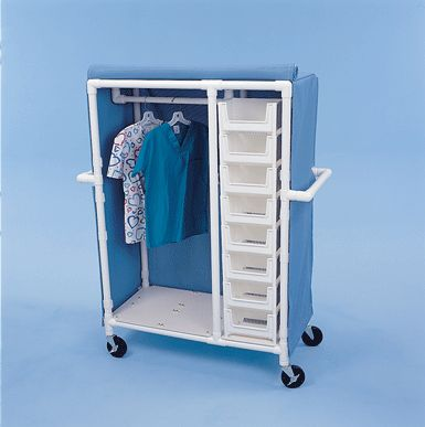 PVC rolling storage cart... Great for bed rooms with no closet or very little storage.