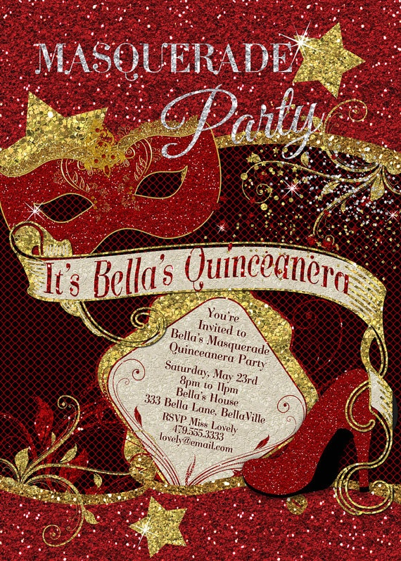 Christmas Masquerade Party Ideas Part - 31: Quinceanera Masquerade Party Invitation By BellaLuElla On Etsy, $10.00