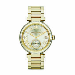 Michael Kors Gold Plated Steel Round Gold Roman Numerals Dial/Small Second Hand Dial And Crystal Set Case 100M Water Resist Watch