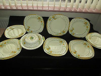 Art deco burleigh ware #golden days 4971 #dinner & lunch plates & lidded #tureen , View more on the LINK: http://www.zeppy.io/product/gb/2/262166685620/