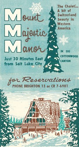 Mount Majestic Manor. Salt Lake City. by jericl cat, via Flickr. 30 stem #matchbook. #FrontStriker. To order your business' own branded #matches, Go to www.GetMatches.com or call 800.605.7331 Today!