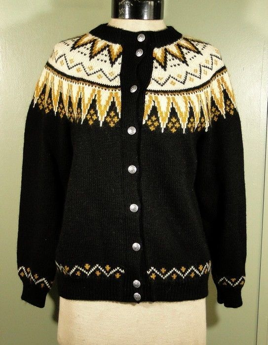 Lulle Otterstad Hand Knit Black Cardigan/Gold-White Print-Pewter Buttons S/M #LulleOtterstad #Cardigan