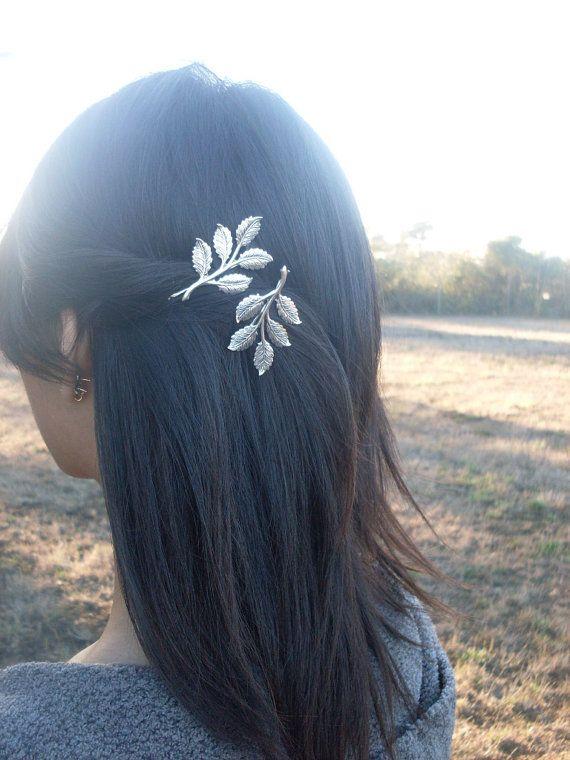 Silver Leaf Branch Bobby Pins - Silver Bridal Hair Pins Bridal Bobby Pins Grecian Hair Accessories Woodland Wedding Bridal Hair Accessories