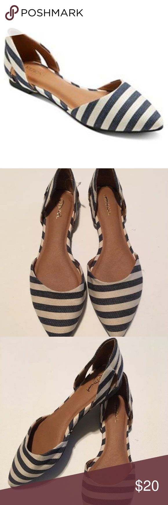 Merona Celine Striped blue white ballet flats Pair of striped pointed toe ballet flats by Merona (Target). They are d'orsay style and cut out at sides. Striped for a nautical vibe. New without tags or box and brand has a line through it with permanent marker to prevent returns. Runs true to size in my opinion. Merona Shoes Flats & Loafers