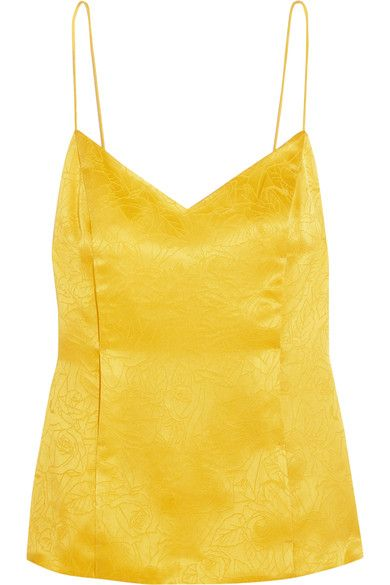 Yellow silk-jacquard  Slips on  100% silk; lining: 100% polyester Dry clean  Imported
