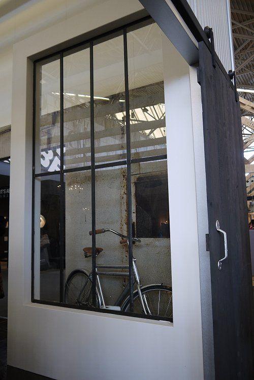 (C) Vosgesparis.blogspot.com: An Industrial kitchen in the VT wonen home at the woonbeurs   Bike behind industrial windows