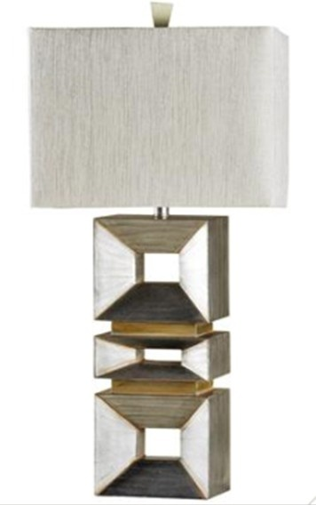 Bring some sparkle to your decor with the stylecraft palladium silver table lamp the stacked square base lends bold visual appeal and the fabric shade