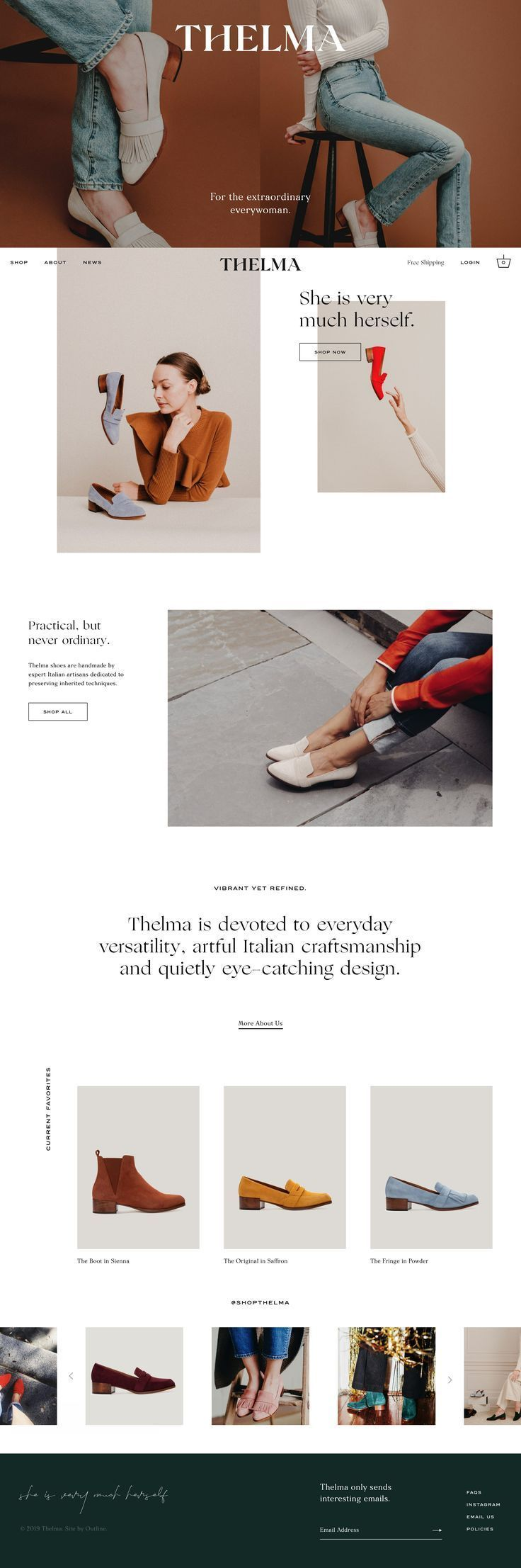 Minimalist website design with white space and serif typefaces