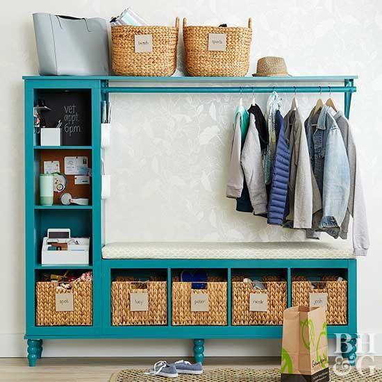 turn basic storage cubes into a cute diy entryway