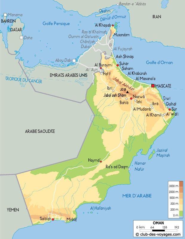 Carte Oman Emirats Arabes Unis Tropique Du Cancer Et Abou Dabi