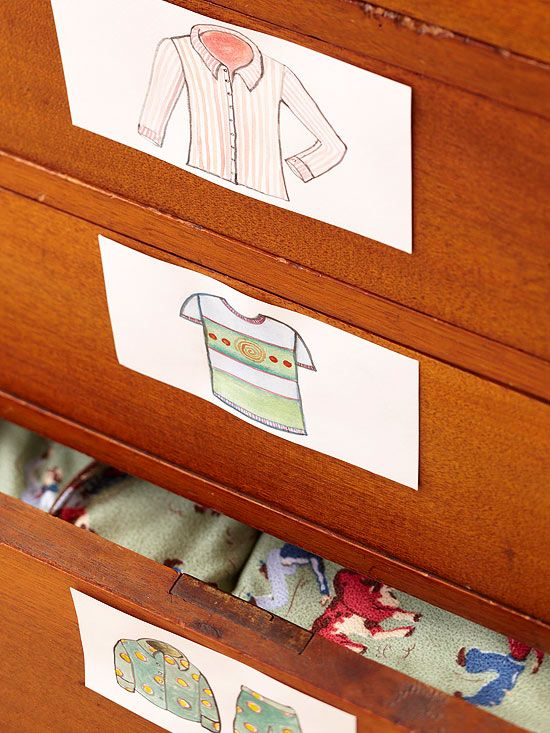 cute idea for little ones just learning about clothes  Kid-Friendly Storage