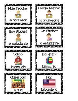 This is bundle of 30 labels that you can put up around an elementary and/or Spanish classroom.  Each label includes the English word, a picture of the item, and the Spanish word.  The words consist of common items and supplies in the classroom.  The design of each label is a black border with white polka dots.