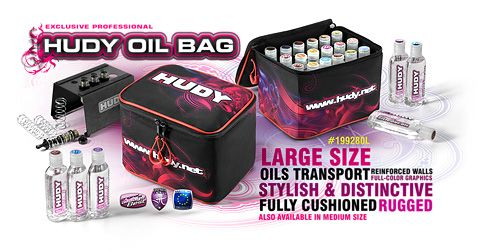New HUDY Oil Bag – Large #199280L   Super-stylish bag to carry all different oils for shock absorbers, air filters, and differentials. The interior of the bag is fully cushioned and has reinforced walls to protect all equipment inside, while being tough enough to handle rough transport and handling. The large size perfectly fits HUDY large-size silicone oils. Attractive full-color HUDY graphics makes this bag stand apart from others.