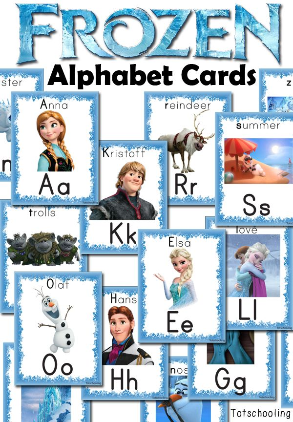 "Frozen themed Alphabet Cards from Tot Schooling ("",)"