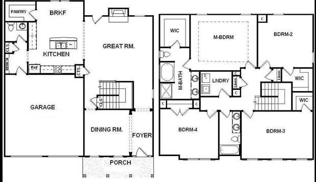 4 Bedroom 2.5 Bathroom Two Story House Plans