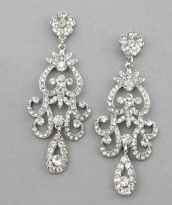 Bridal earrings Wedding  chandelier earrings by LavenderByJurgita, $81.00