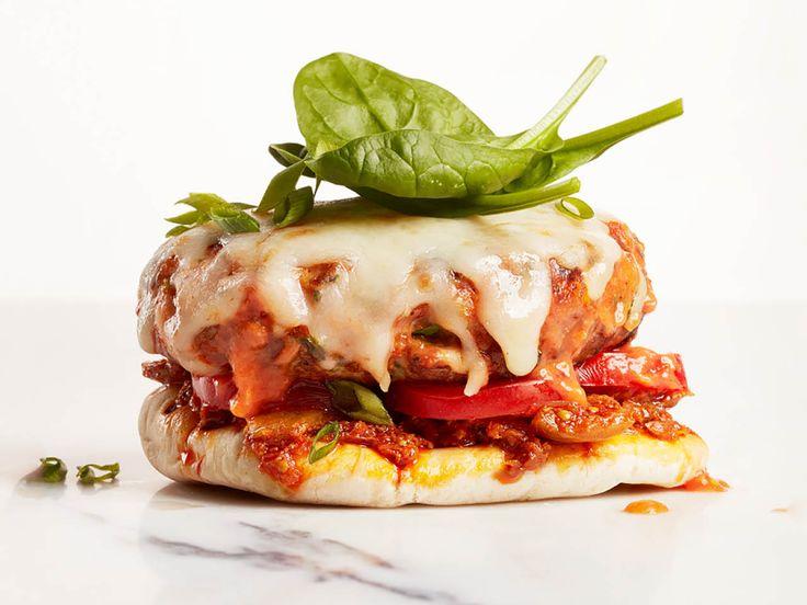 Open-faced butter chicken burger