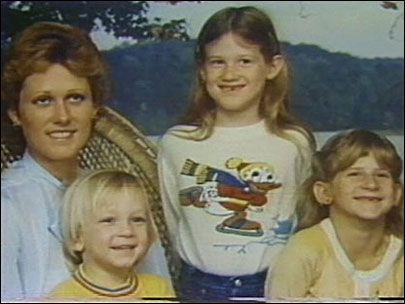 Diane Downs with her three children (L to R, Stephen, Christie and Cheryl).  Cheryl died and the others were very nearly killed when someone shot them.  Mom was convicted of killing them to clear the way for her boyfriend to leave his wife for her.  She still denies everything.