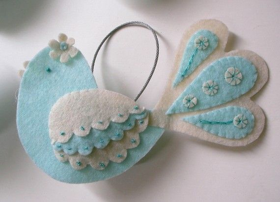 Sweet felt bird ornament