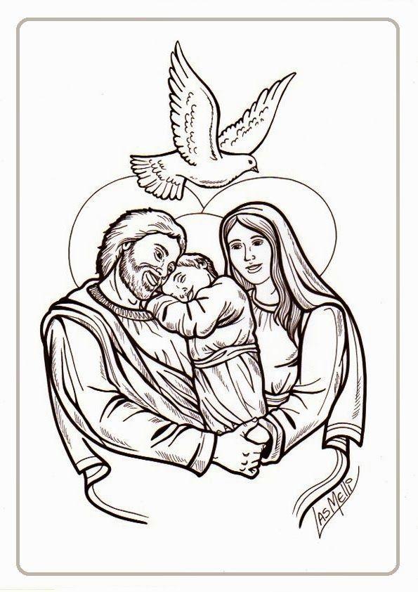 Colorea a San José con María y Jesús | San José | Pinterest | St ...