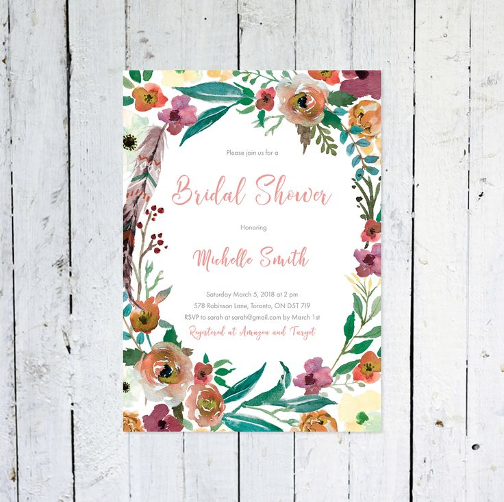 Boho Bridal Shower Invitation, Baby Shower Invitation Girl, Floral, Feathers, Watercolor, Wreath, Printable, Printed by vocatio on Etsy https://www.etsy.com/ca/listing/586202913/boho-bridal-shower-invitation-baby